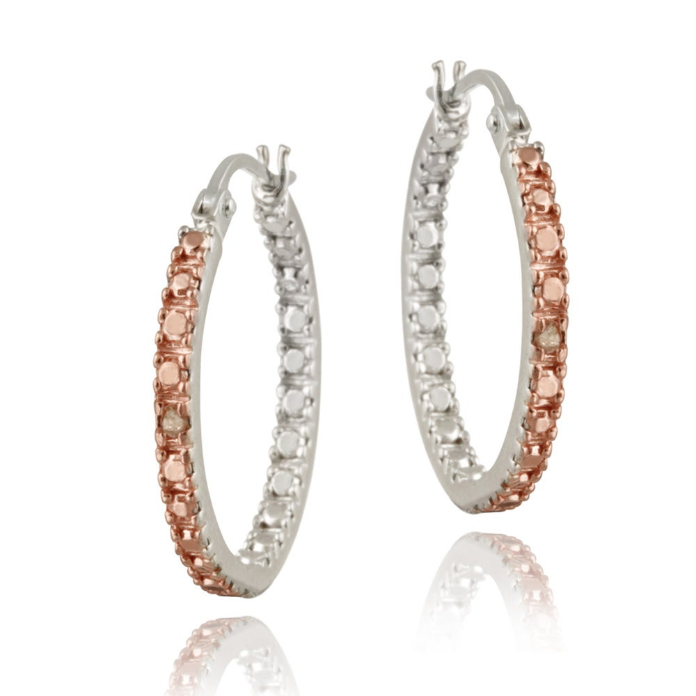 DB Designs Rose Gold over Sterling Silver Champagne Diamond Hoop Earrings
