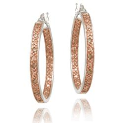 DB Designs Rose Gold over Silver 1/8ct TDW Champagne Diamond Hoop Earrings