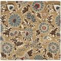 Handmade Blossom Floral Beige Wool Rug (6' x 6')