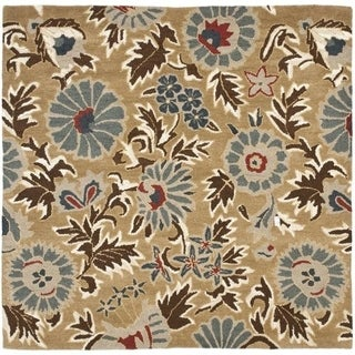 Safavieh Handmade Blossom Floral Beige Wool Rug (6' x 6')