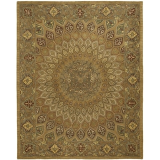 Handmade Heritage Medallion Light Brown/ Grey Wool Rug (5' x 8')