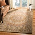 Handmade Heritage Medallion Light Brown/ Grey Wool Rug (5&#39; x 8&#39;)