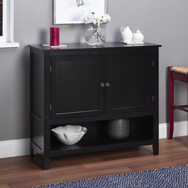 Black Wood Buffet Cabinet ~ Montego black wooden buffet storage cabinet furniture