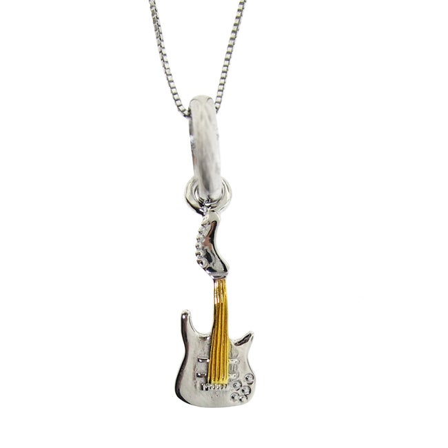 Sterling Silver Two-Tone Guitar Necklace