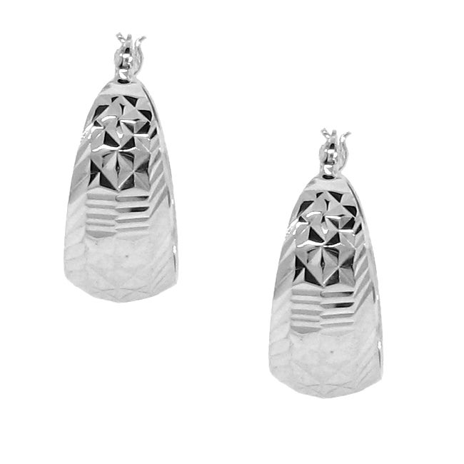 Sterling Silver Multi-faceted Hoop Earrings