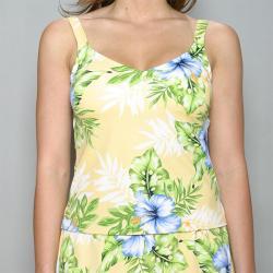 Jantzen Women's Yellow Hibiscus Flower Tankini Top (Size 10)