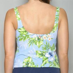 Jantzen Blue Hibiscus Flower Tankini Top
