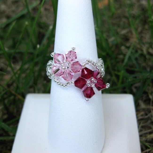 Pink/Dark-pink Crystal/Seed-bead Floral Ring (USA)