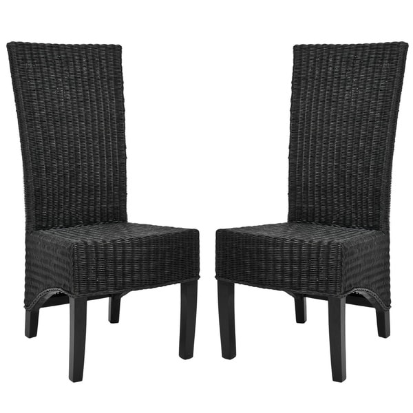 Safavieh St. Croix Wicker Black High Back Side Chairs (Set of 2)