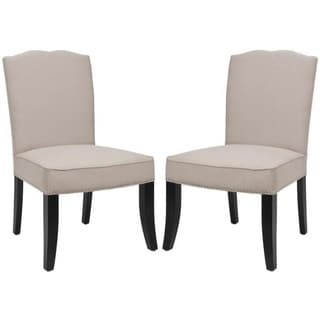 Safavieh Toulon Tan Linen Side Chairs (Set of 2)