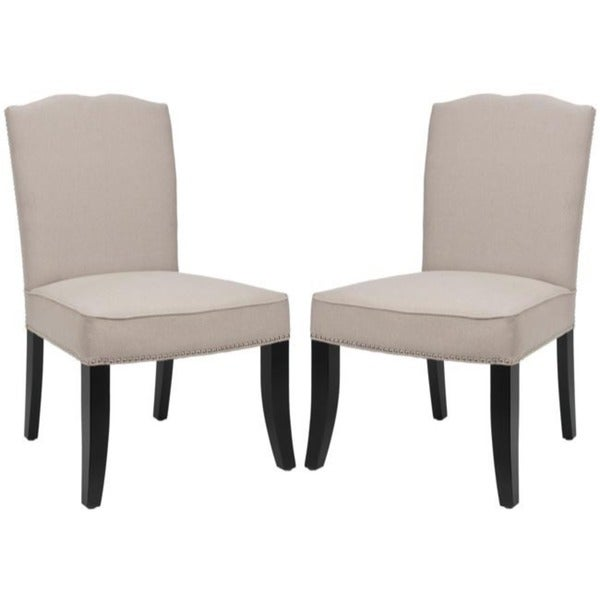 Safavieh Toulon Tan Linen Side Chairs (Set of 2)