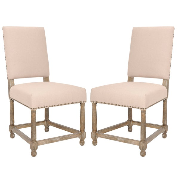 Safavieh Old World Dining Bexley Beige Linen Nailhead Side Chairs (Set of 2)