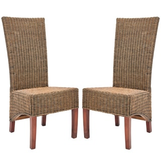 Safavieh St. Criox Honey Wicker High Back Side Chairs (Set of 2)