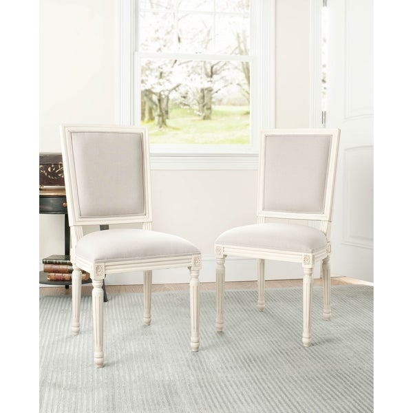 Safavieh Provincial Carved Mahogany Light Grey/ White Side Chairs (Set of 2)