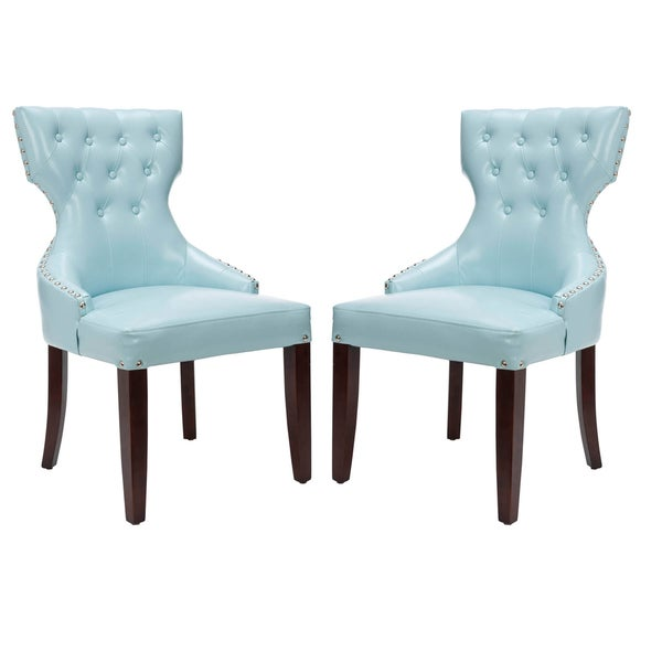 Safavieh en vogue dining aqua tufted nailhead blue leather side chairs set of 2 13685854 - Safavieh dining room chairs ideas ...