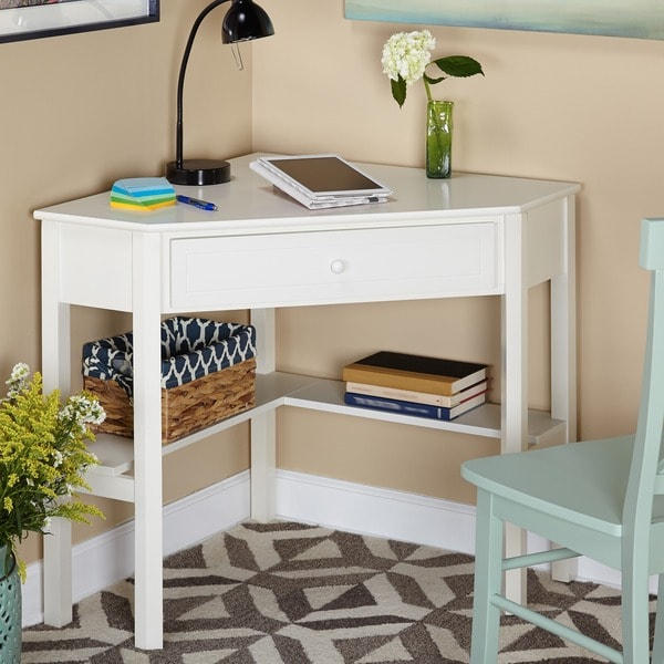 simple living antique white wood corner computer desk 13685883 shopping. Black Bedroom Furniture Sets. Home Design Ideas