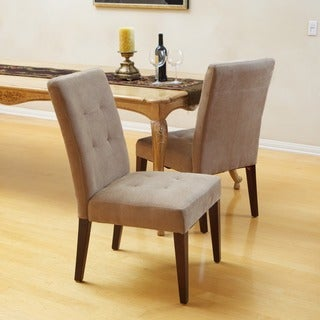 Christopher Knight Home Tufted Cream Linen Dining Chairs (Set of 2)