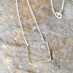 AEB Design Silver Large Square Ring Necklace