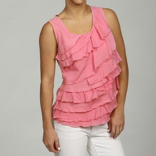 Jennifer & Grace Women's White Sleeveless Ruffle Top