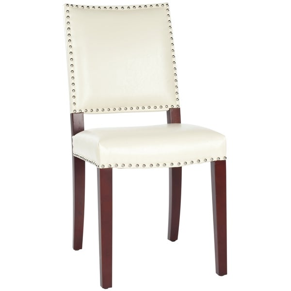 Safavieh Broadway Cream Leather Nailhead Side Chair
