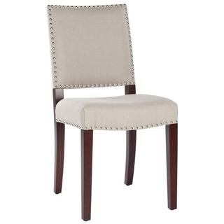 Safavieh Broadway Tan Linen Nailhead Side Chair