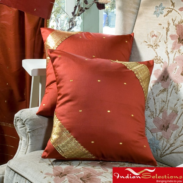Set of Two Handmade Rust-colored Decorative Sari Pillow Covers (India)