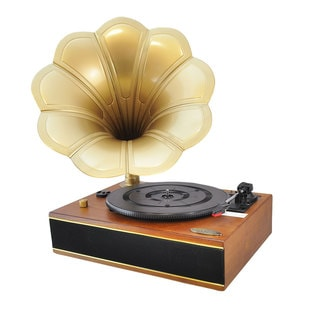 Pyle PNGTT1R Mahogany Horn PC-Recordable Phonograph/Turntable