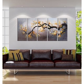 Hand-painted 'Plum Blossom 315' 5-piece Gallery-wrapped Canvas Art Set