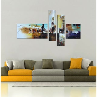 Hand-painted 'Sleepless City' 4-piece Gallery-wrapped Canvas Art Set