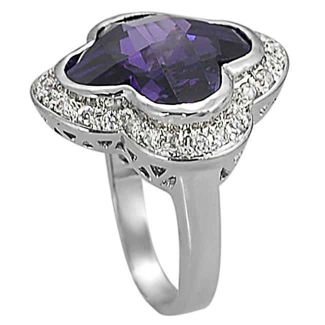 Journee Collection Silvertone Lab-created Amethyst and CZ Ring