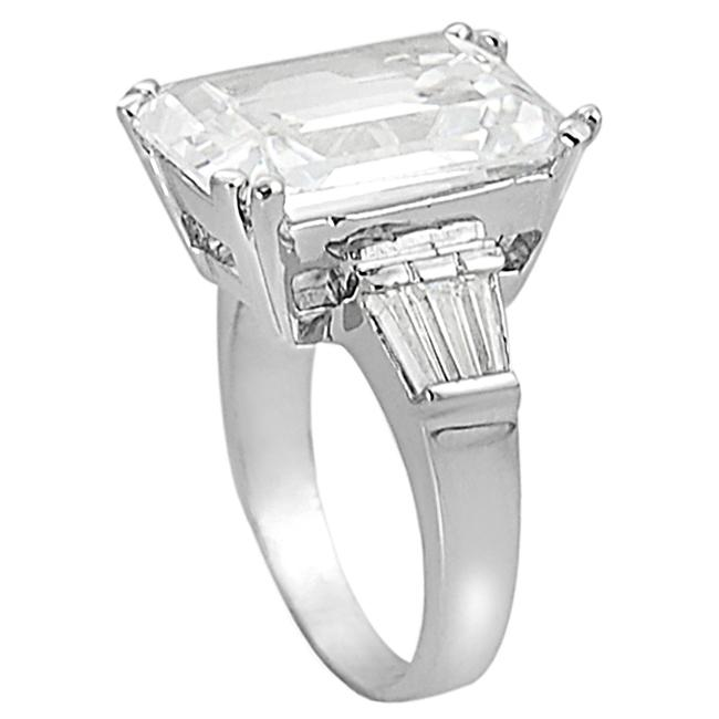 Journee Collection Silvertone Emerald CZ Bridal and Engagement Ring