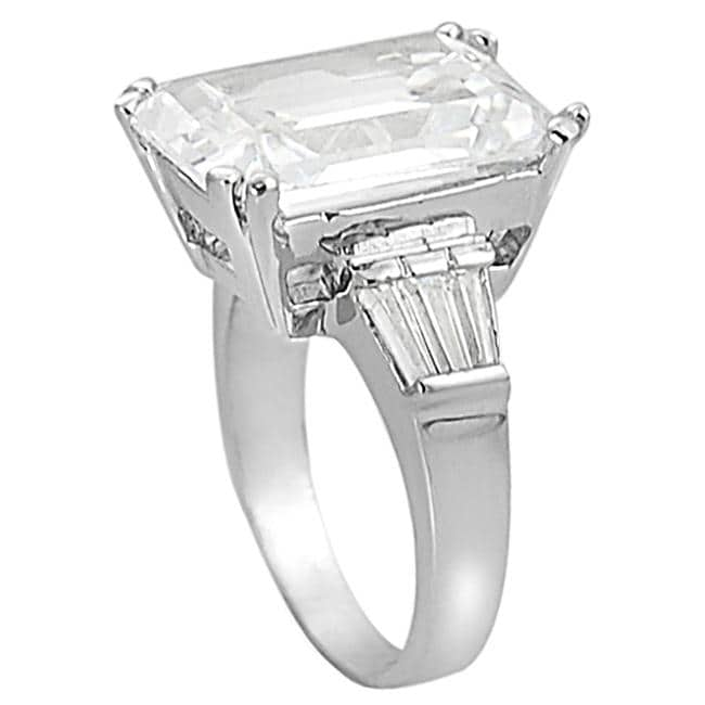 Tressa Collection Silvertone Emeraldt CZ Bridal & Engagement Ring