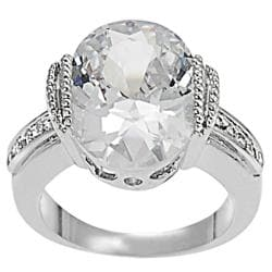 Tressa Collection Silvertone Ovat CZ Bridal & Engagement Ring