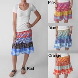 Apollo Junior's Tropical Print Smocked-waist Skirt