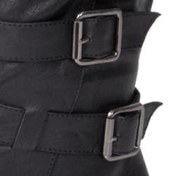 Journee Collection Women's Faux Leather Buckle Boots
