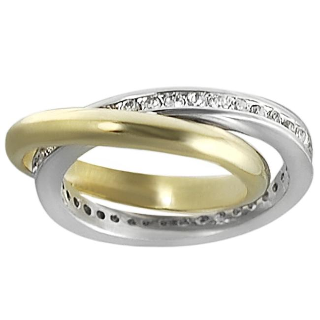 Journee Collection Two-tone Channel-set CZ Double Ring