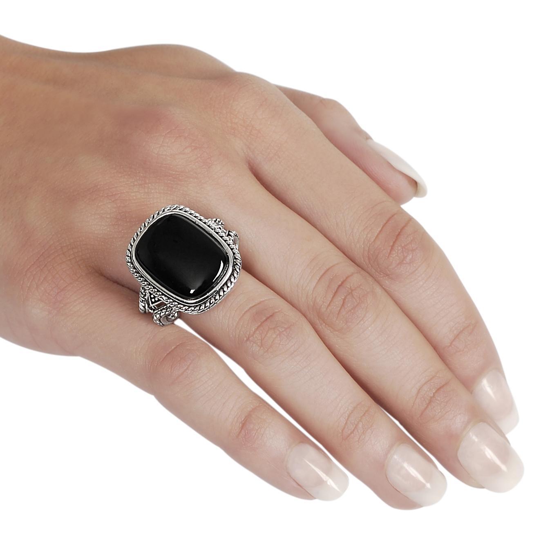 Silvertone Cushion Cut Created Black Agate Rope Detail Ring Free