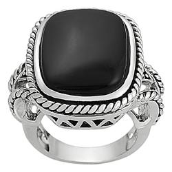 Silvertone Cushion-cut Created Black Agate Rope Detail Ring
