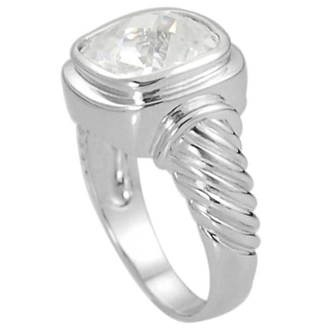 Journee Collection Silvertone Cushion-cut CZ Twist Ring