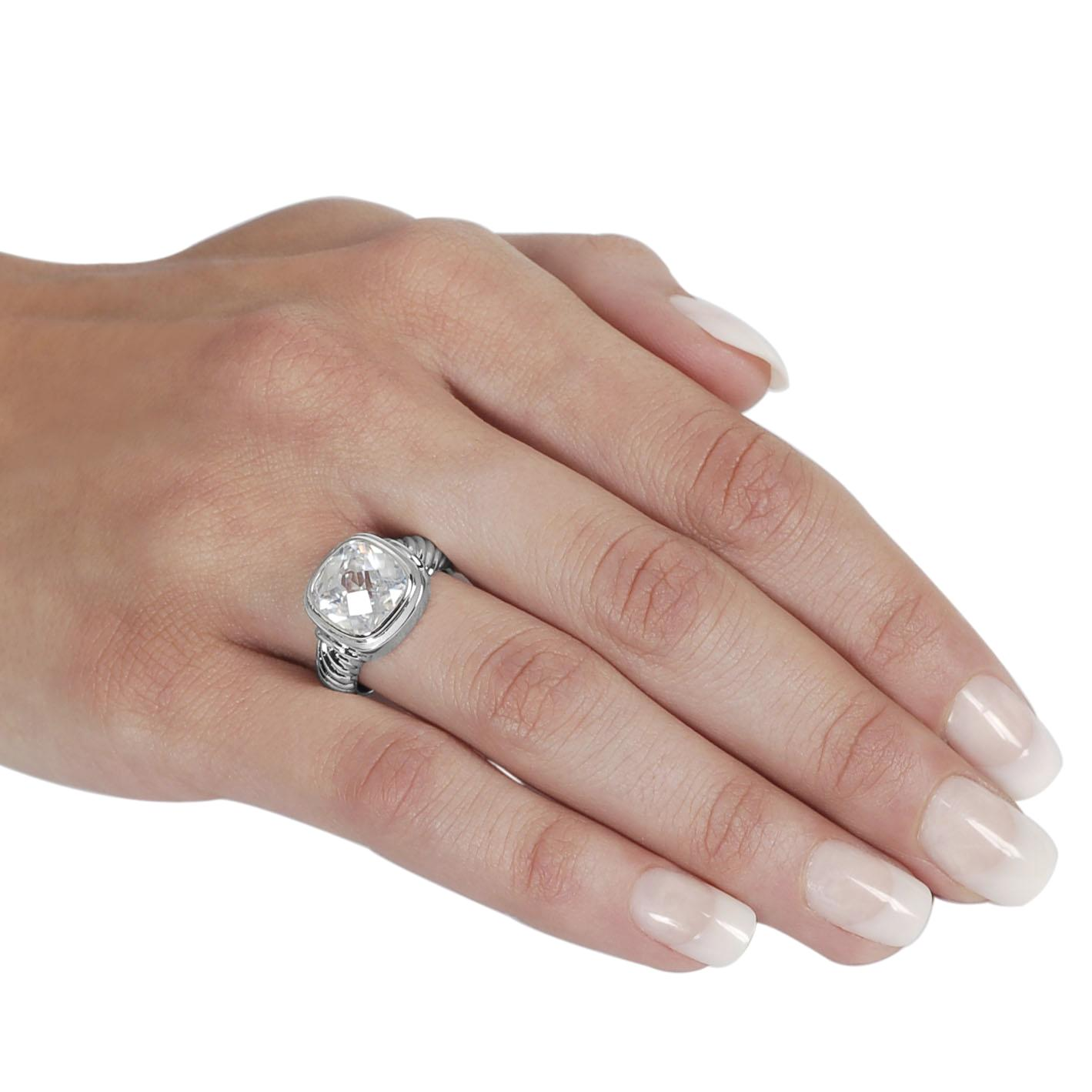 Journee Collection Silvertone Cushion-cut CZ Twist Ring