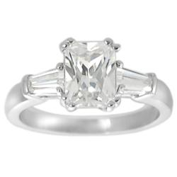 Tressa Collection Silvertone Emerald CZ Bridal Engagement Ring
