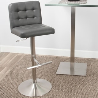 Dexter Brushed Stainless Steel Adjustable Height Swivel Tufted Stool