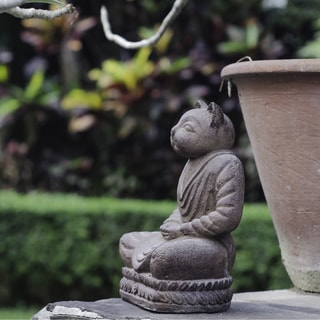Volcanic Ash Antique Brown Cat Namaste Statue (Indonesia)