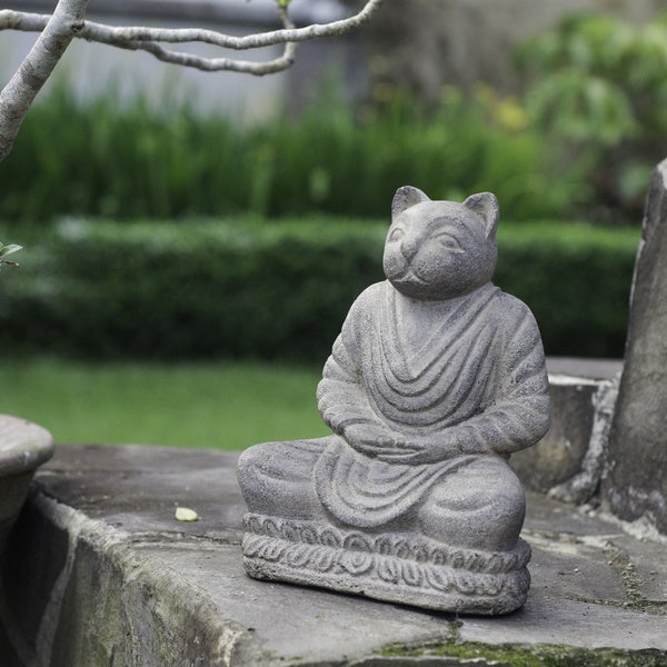 Volcanic Ash Stone-washed Cat Namaste Statue (Indonesia)