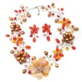 Silver Pearls and Gemstones Floral Jewelry Set (3-15 mm) (Thailand)
