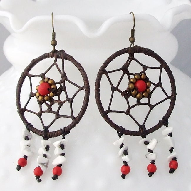 Cotton/ Brass Dream Catcher Turquoise and Coral Earrings (Thailand)