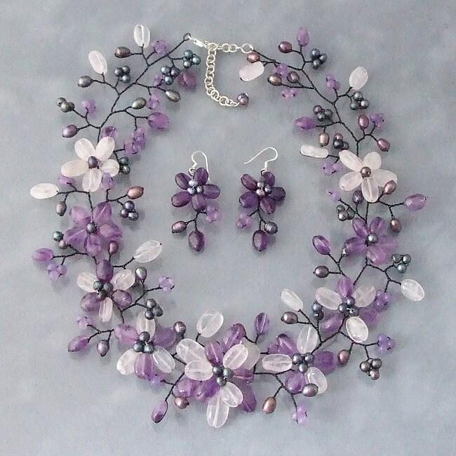 Pearl/ Amethyst/ Clear Quartz Floral Jewelry Set (3-8 mm) (Thailand)