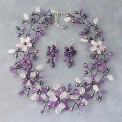 Pearl/ Amethyst/ Clear Quartz Floral Jewelry Set (3-8 mm) (Thailand)