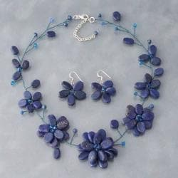 Lapis Lazuli Navy Floating Flowers Jewelry Set (Thailand)