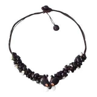 Copper Wing Cute Butterfly Black and White Gemstone Necklace (Thailand)